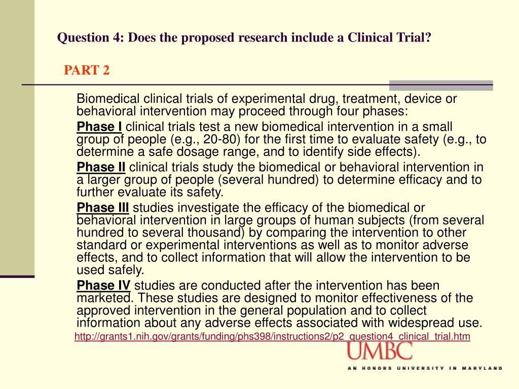 Question 4: Does the proposed research include a Clinical Trial?