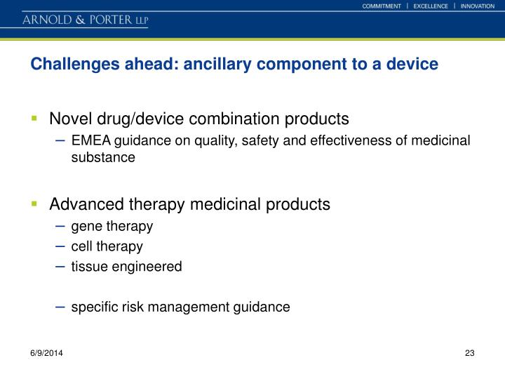 Challenges ahead: ancillary component to a device