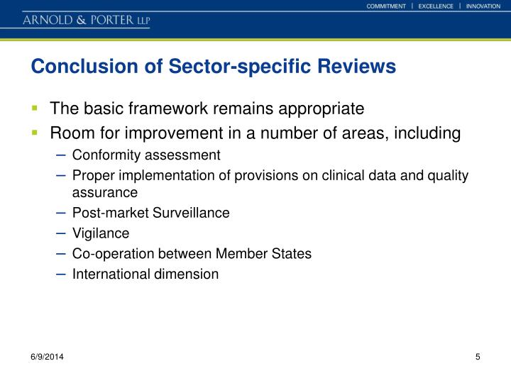 Conclusion of Sector-specific Reviews