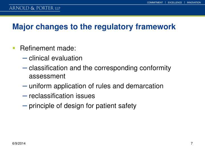 Major changes to the regulatory framework