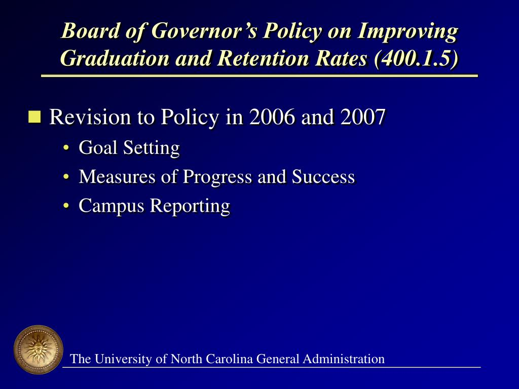 Board of Governor's Policy on Improving Graduation and Retention Rates (400.1.5)