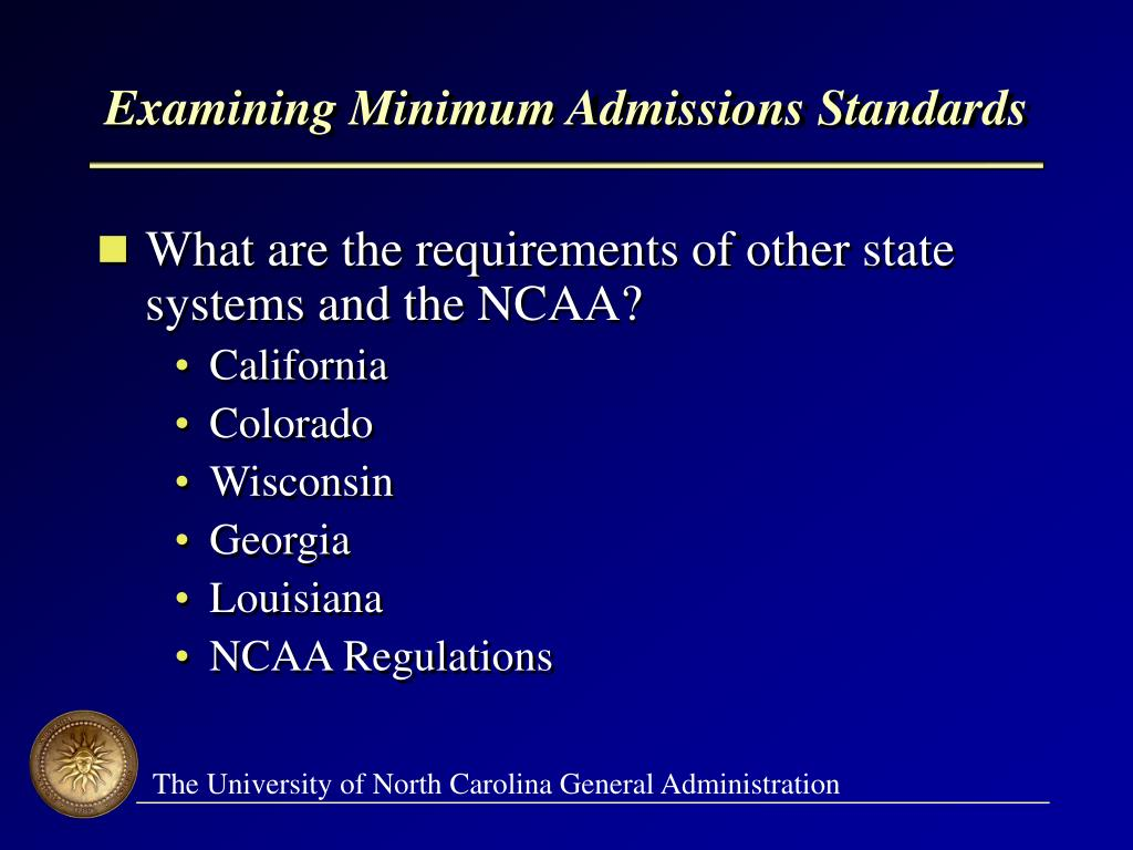 Examining Minimum Admissions Standards