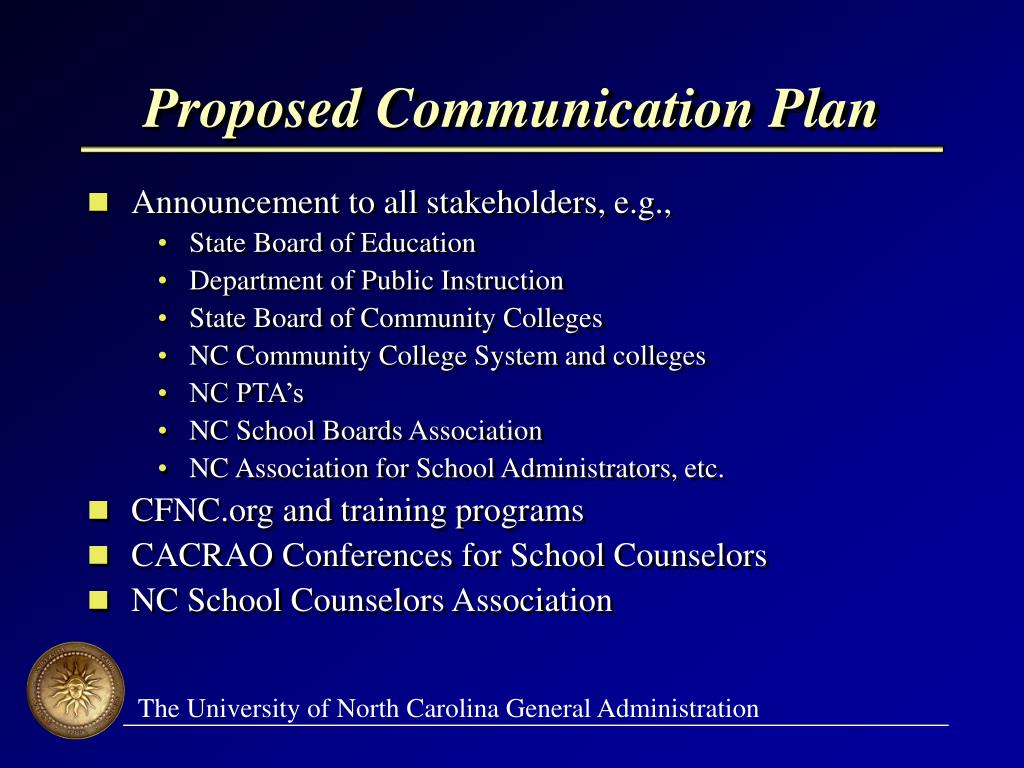 Proposed Communication Plan