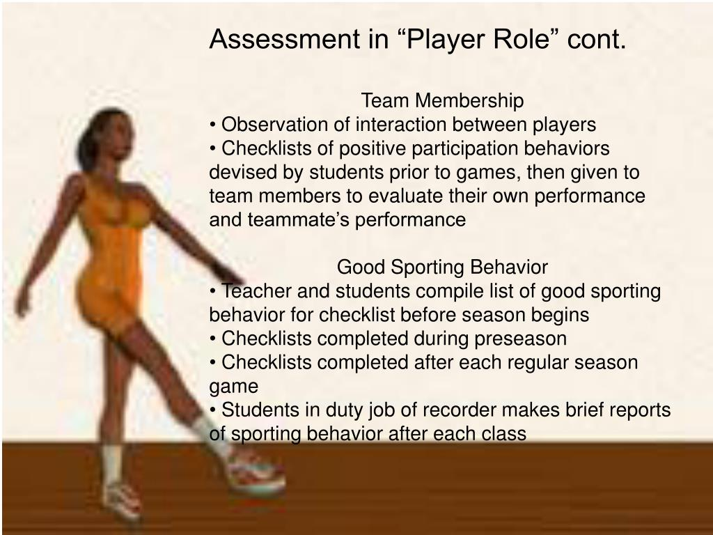 "Assessment in ""Player Role"" cont."