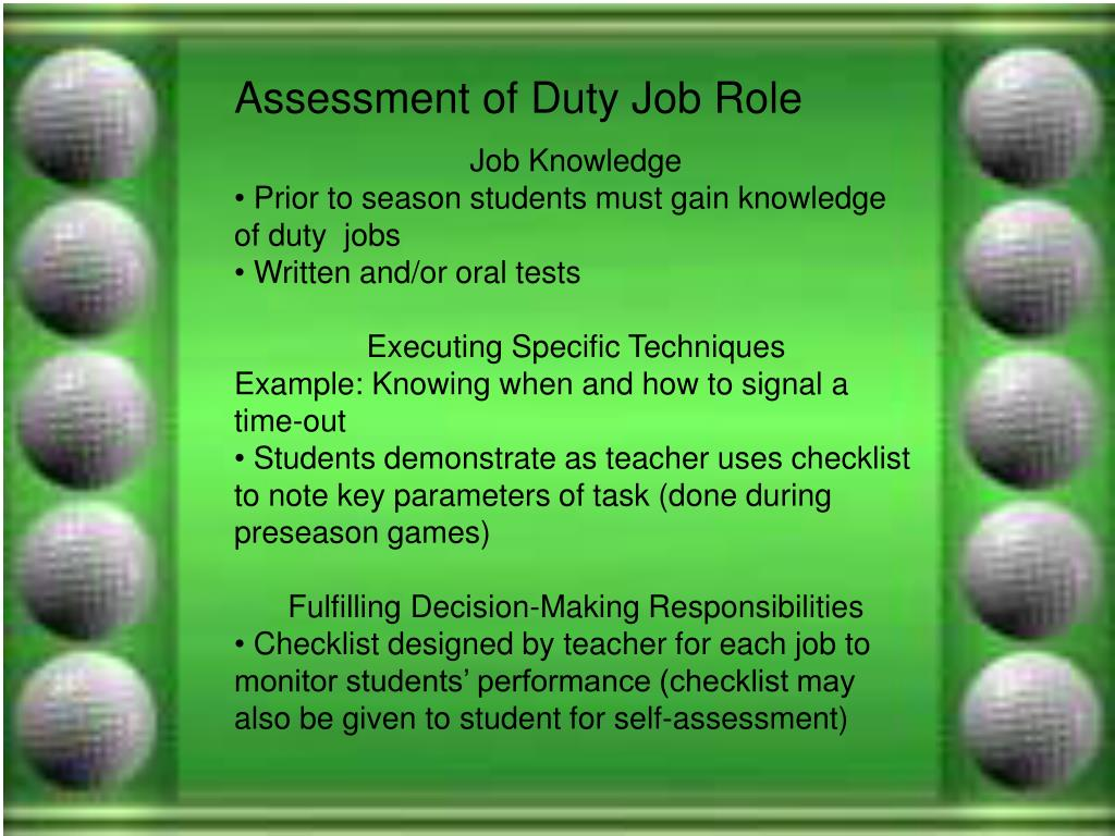Assessment of Duty Job Role