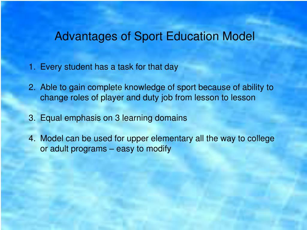 Advantages of Sport Education Model