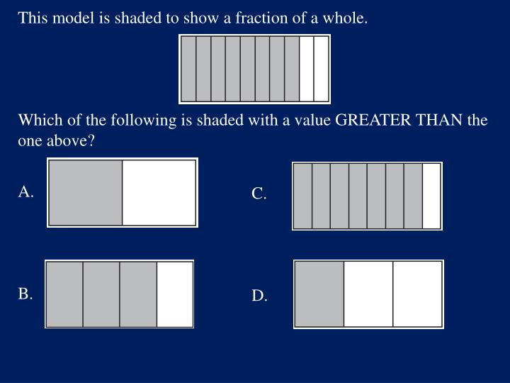 This model is shaded to show a fraction of a whole.