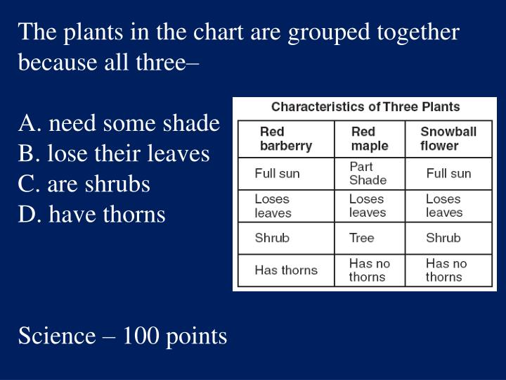 The plants in the chart are grouped together because all three–