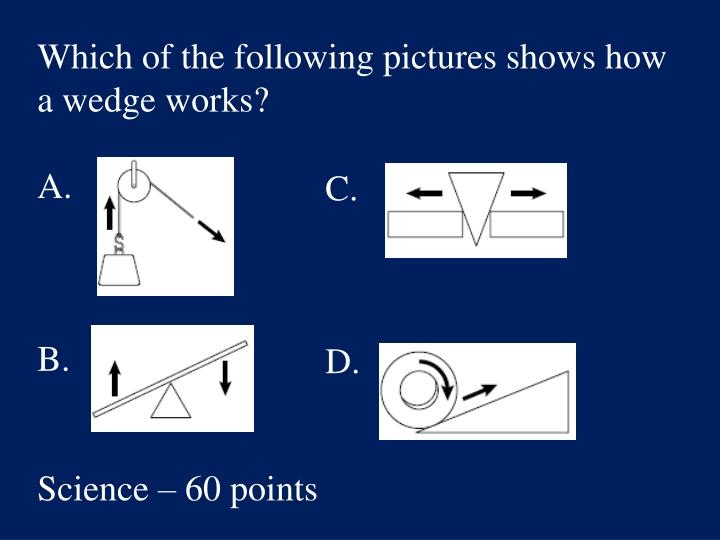 Which of the following pictures shows how a wedge works?