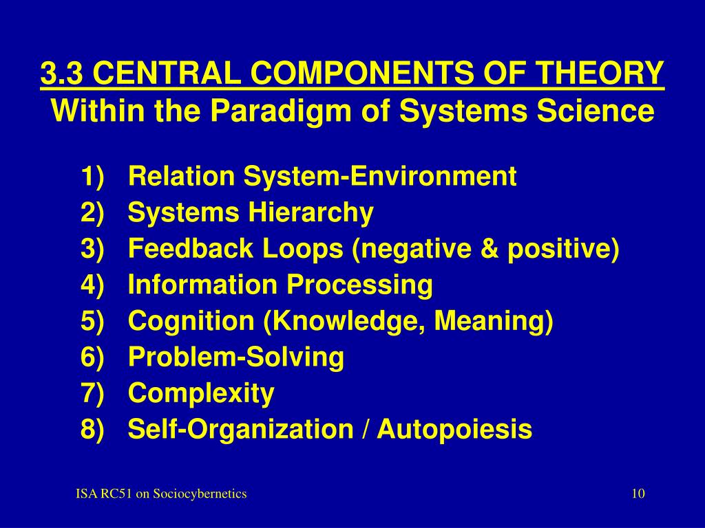 3.3 CENTRAL COMPONENTS OF THEORY