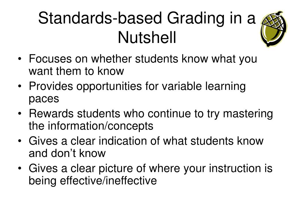 Standards-based Grading in a Nutshell