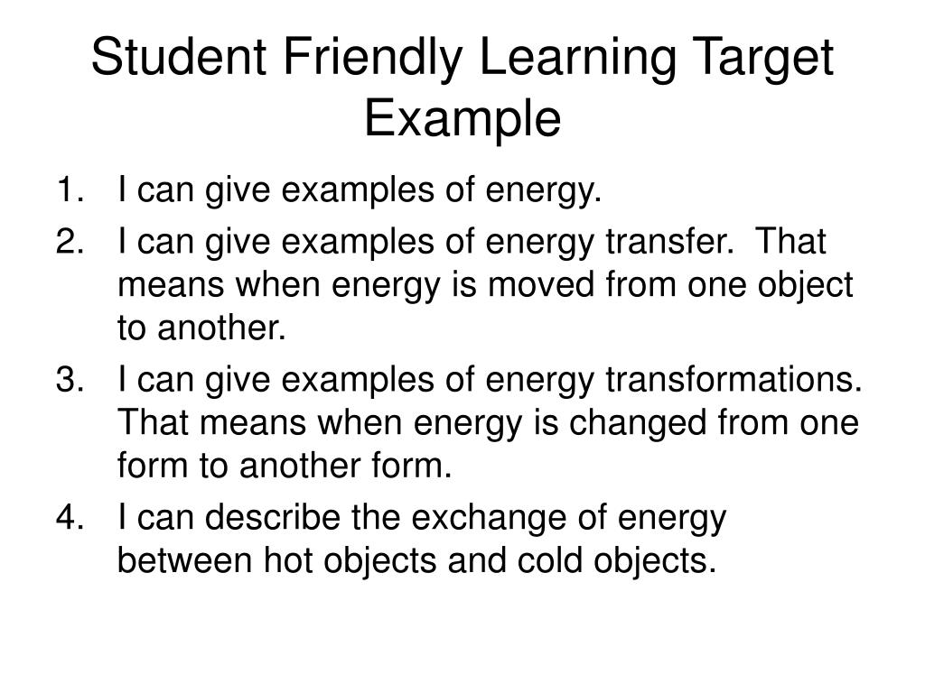Student Friendly Learning Target Example