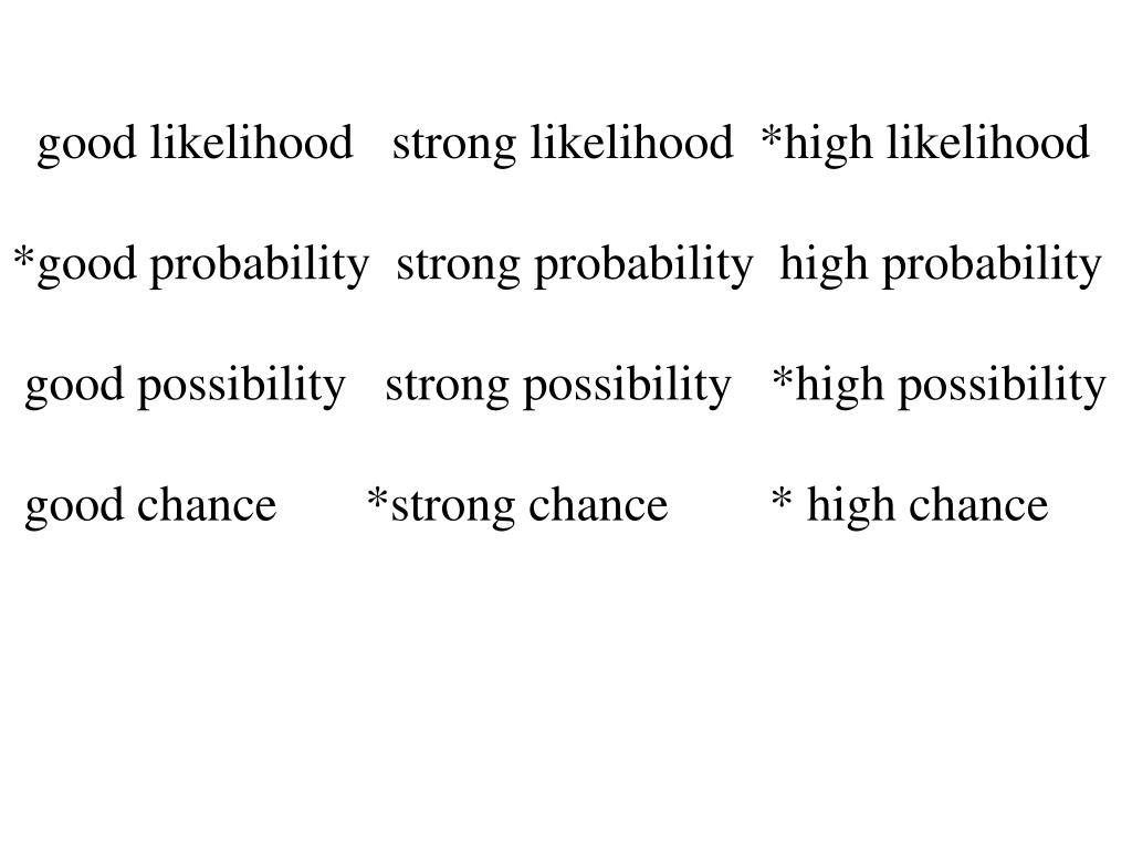 good likelihood   strong likelihood  *high likelihood