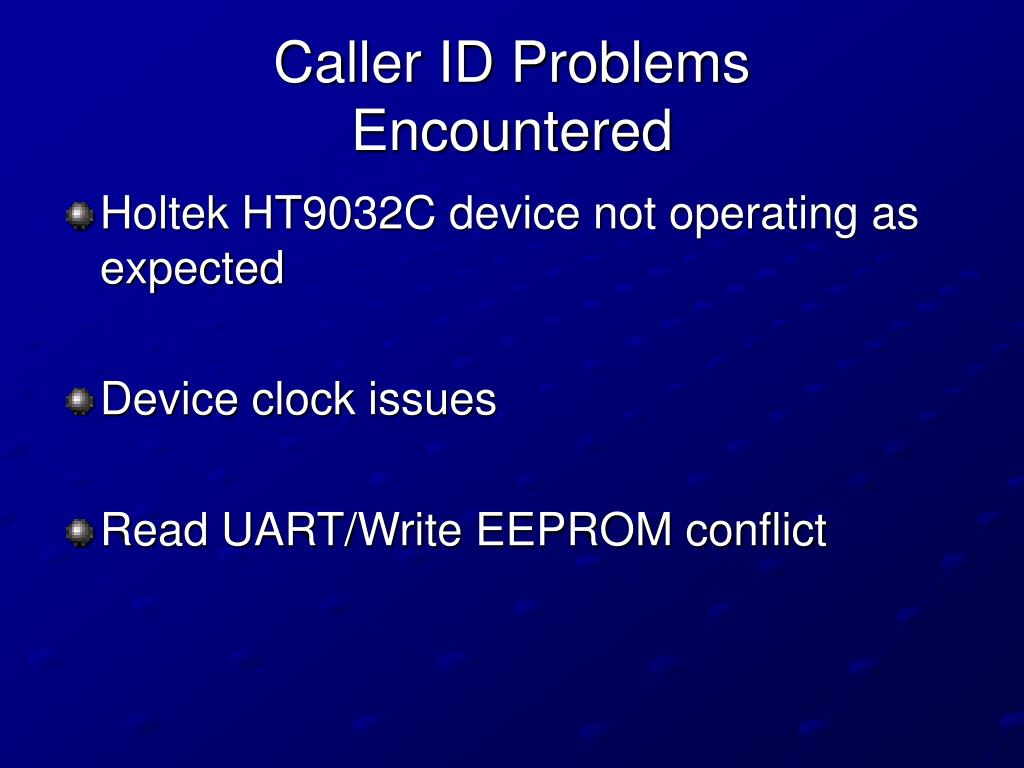Caller ID Problems