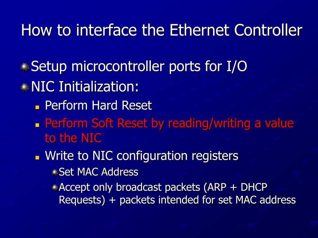 How to interface the Ethernet Controller