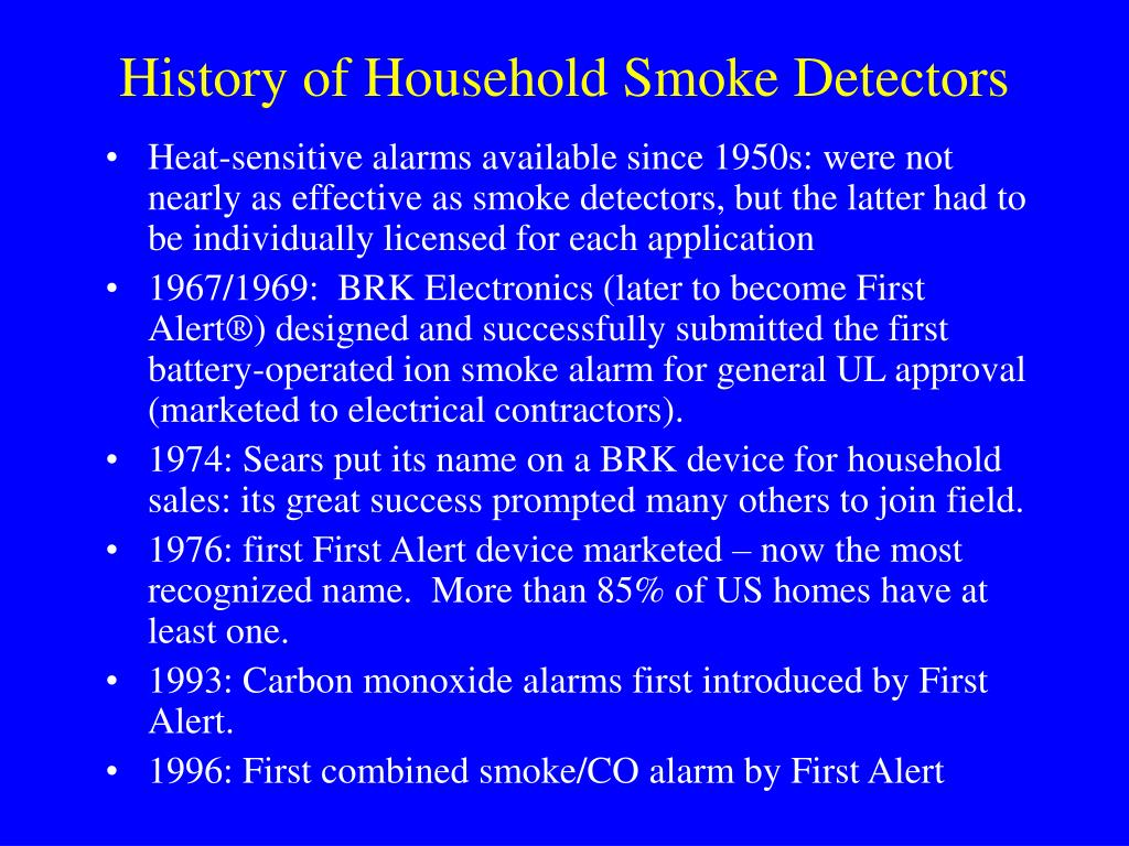 History of Household Smoke Detectors