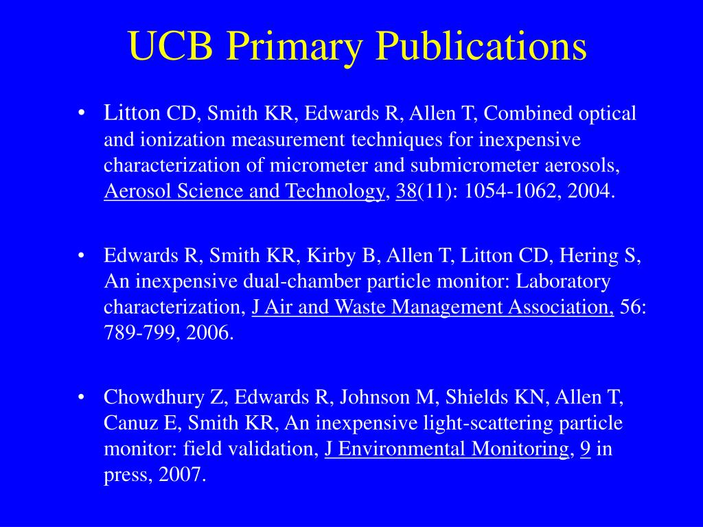 UCB Primary Publications