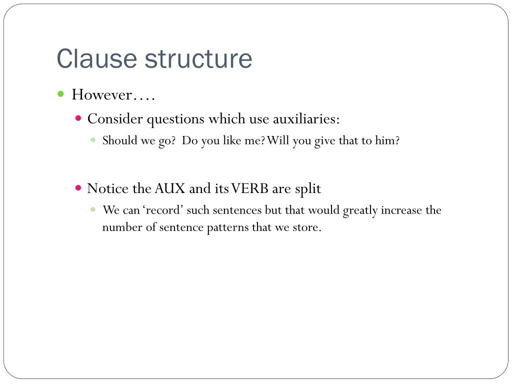 Clause structure