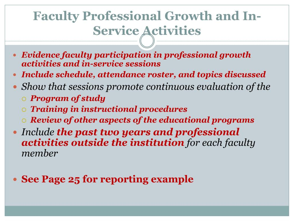 Faculty Professional Growth and In-Service Activities