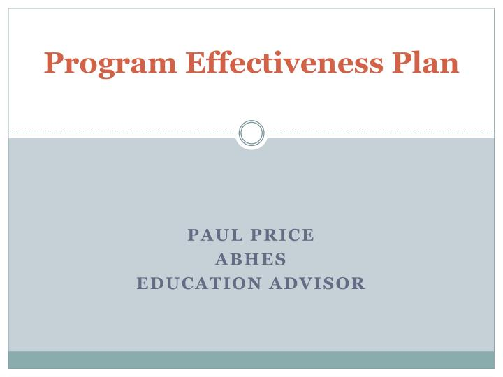 Program effectiveness plan l.jpg