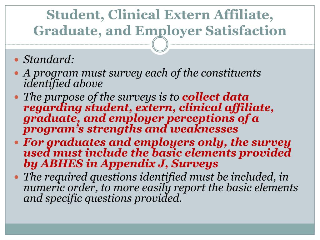 Student, Clinical Extern Affiliate, Graduate, and Employer Satisfaction