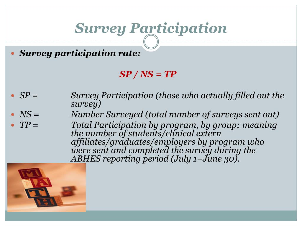 a survey analysis of participation in A market analysis should include local survey  estimate how long the survey will take, and ask for participation  the standardized written consumer survey.