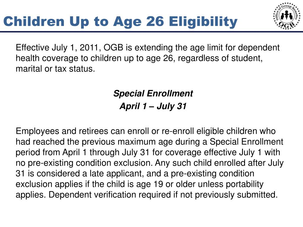 Children Up to Age 26 Eligibility