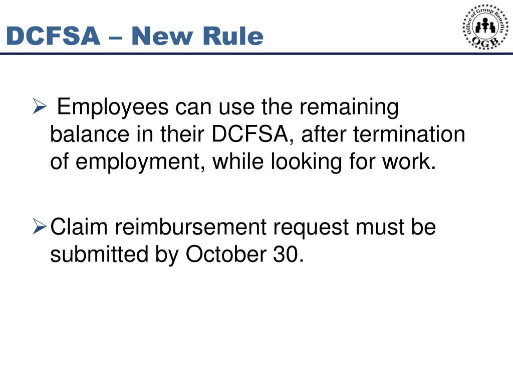 DCFSA – New Rule
