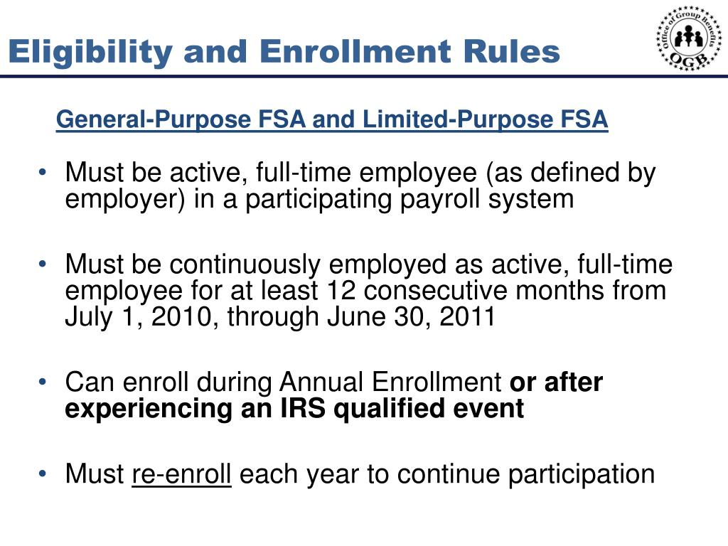 Eligibility and Enrollment Rules