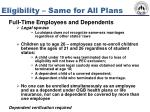 eligibility same for all plans