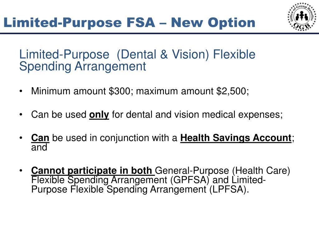 Limited-Purpose FSA – New Option