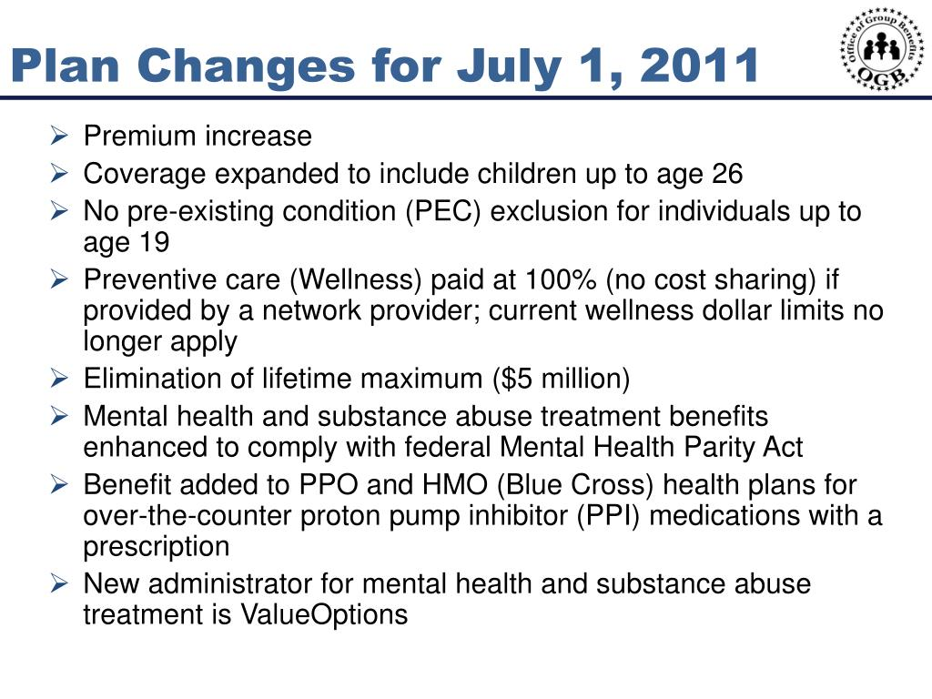 Plan Changes for July 1, 2011