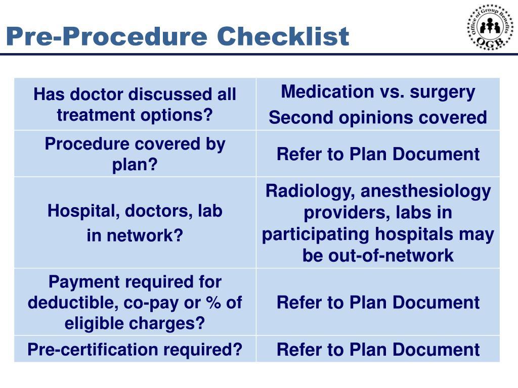 Pre-Procedure Checklist