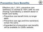preventive care benefits