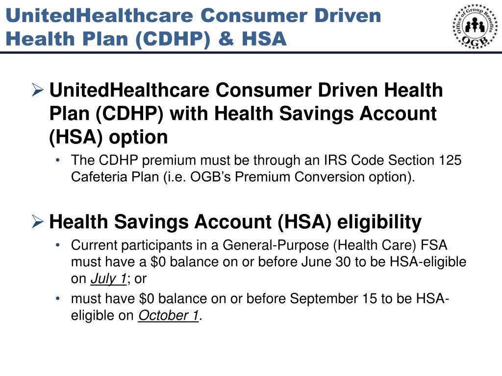 UnitedHealthcare Consumer Driven Health Plan (CDHP) & HSA