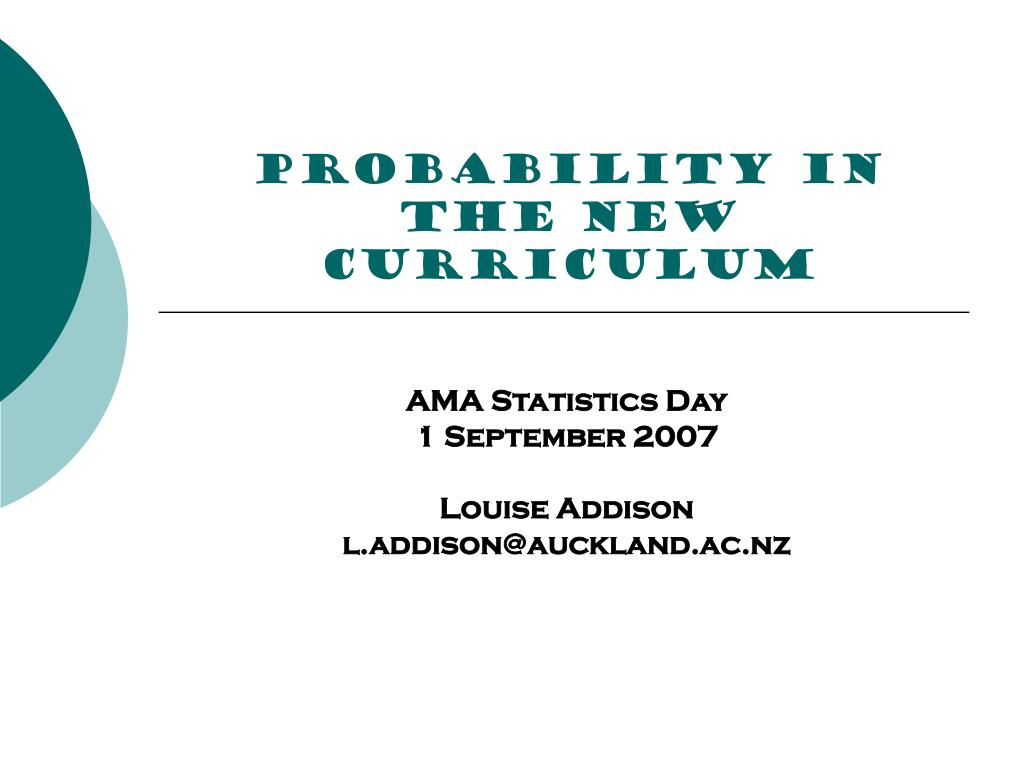 PROBABILITY in the new curriculum