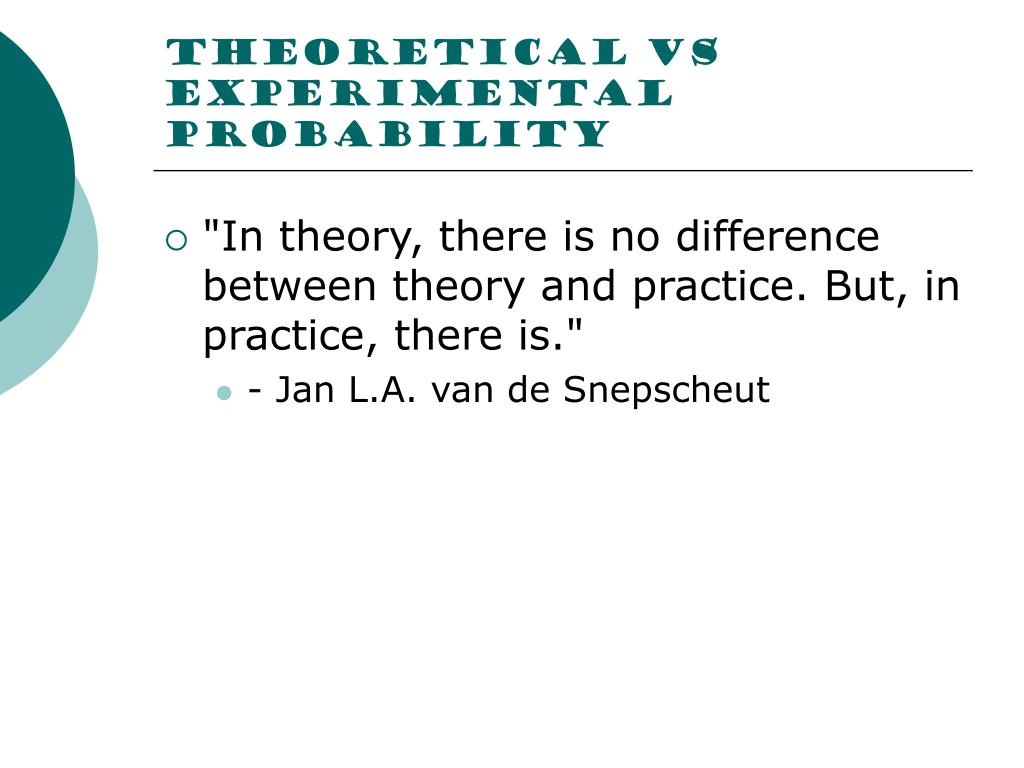 Theoretical vs experimental probability