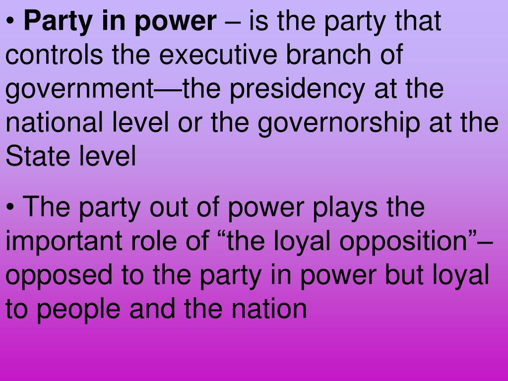 Party in power