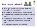 lets have a debate