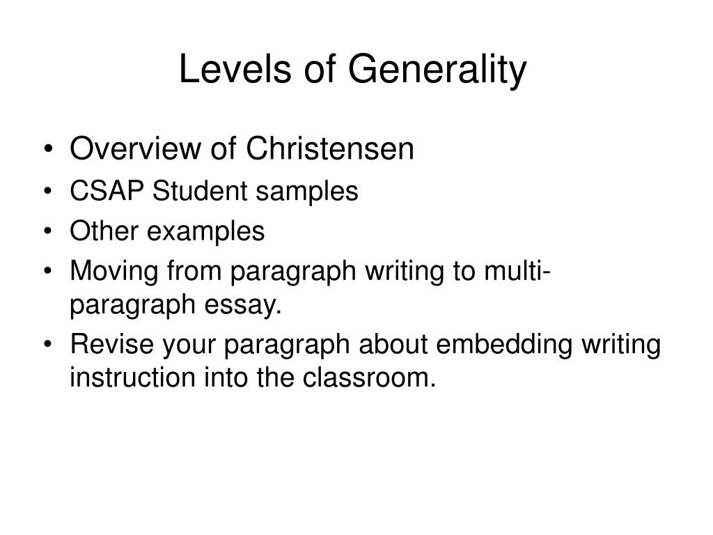 Levels of Generality