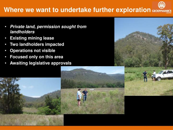Where we want to undertake further exploration