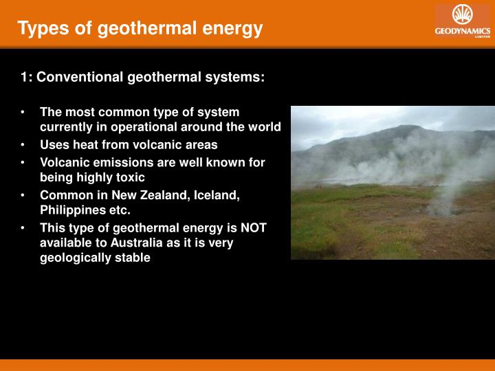 Types of geothermal energy