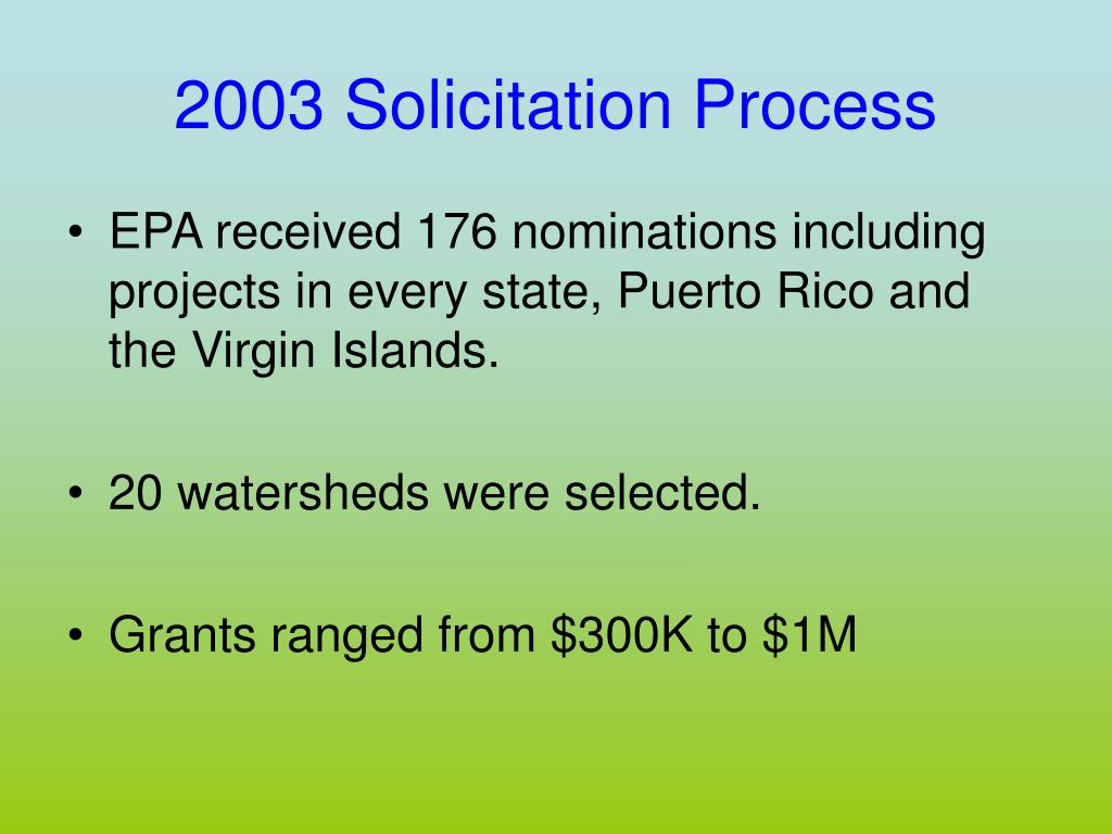 2003 Solicitation Process