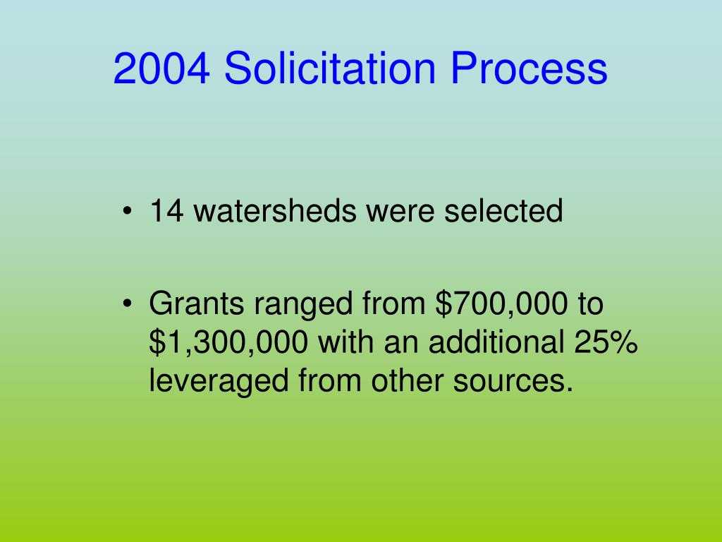 2004 Solicitation Process