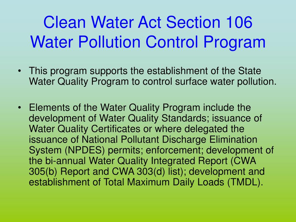 Clean Water Act Section 106