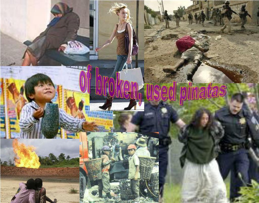 of broken, used pinatas