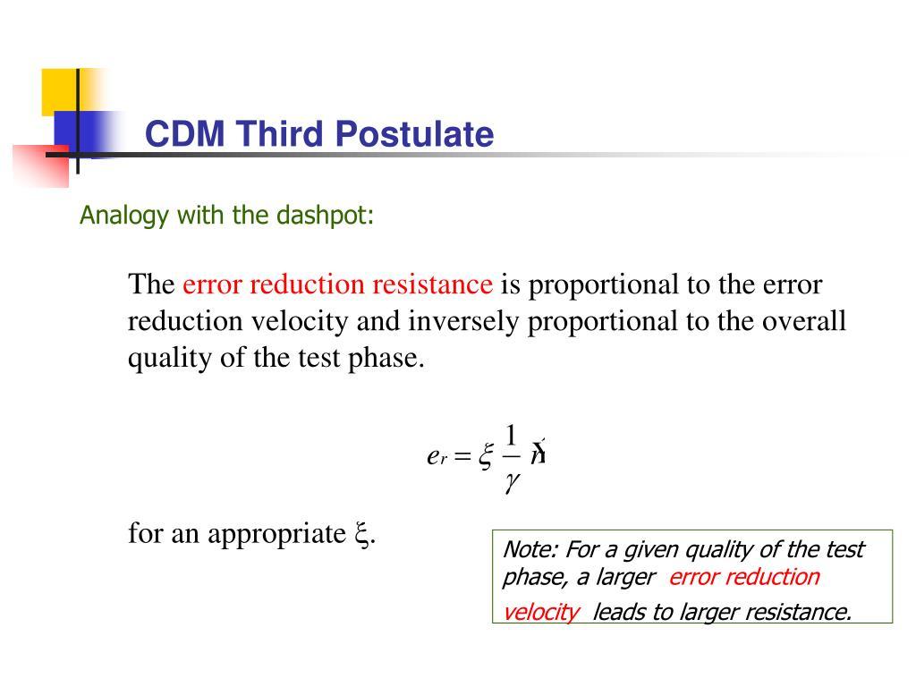 CDM Third Postulate