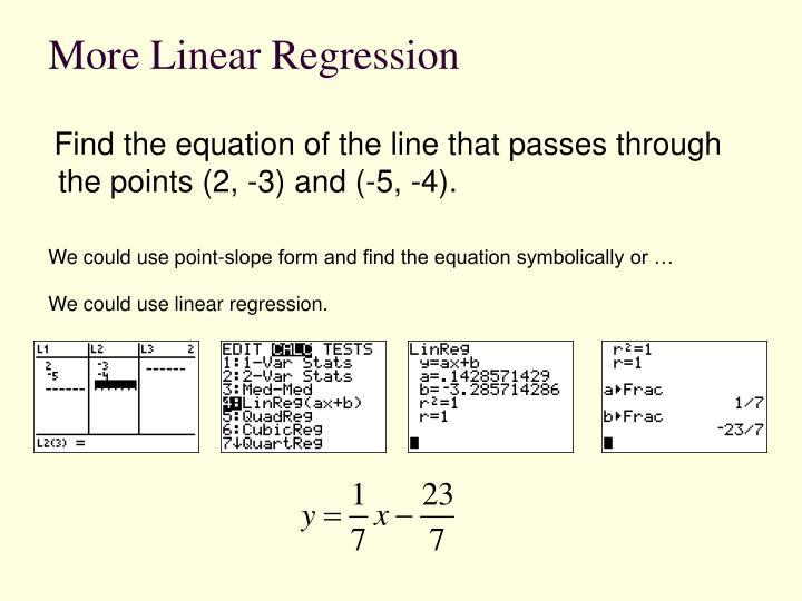 More Linear Regression