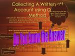collecting a written off account using direct method