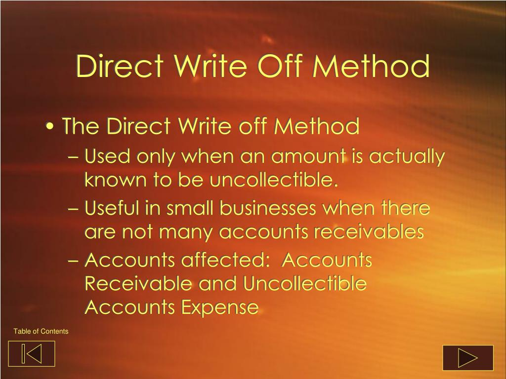 Direct Write Off Method